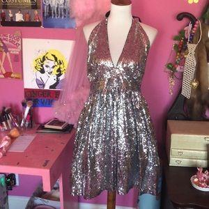 Silver sequin Marilyn Monroe mini party dress
